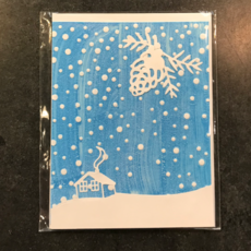 Gazelle Sentiments Snowy Cabin Greeting Card