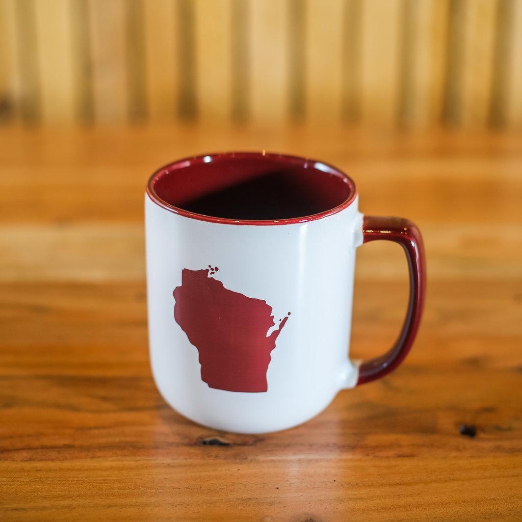 Volume One Wisconsin State Mug - Red & White