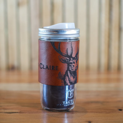 Tactile Craftworks Leather Travel Mug - Eau Claire Stag (24 oz)
