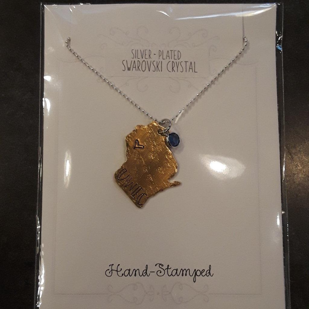 Blue Moon Studios WI Shape UWEC Necklace with Jem
