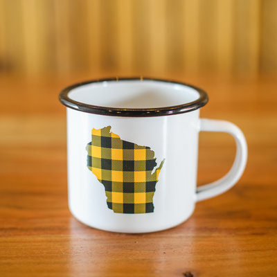 Volume One Enamel Mug-Wisconsin Green/Gold Plaid