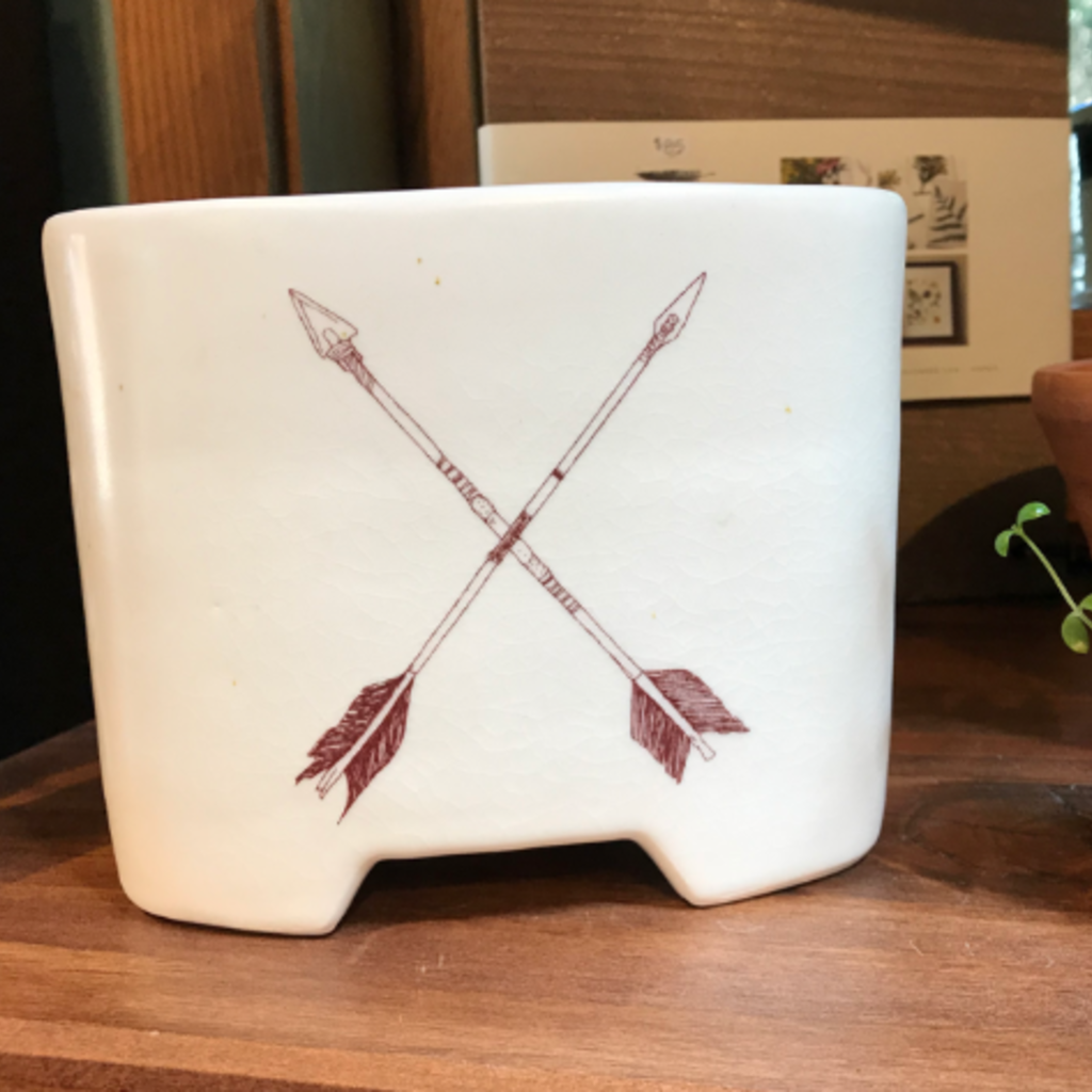 Tandem Ceramics White Ceramic Vase - X Arrows