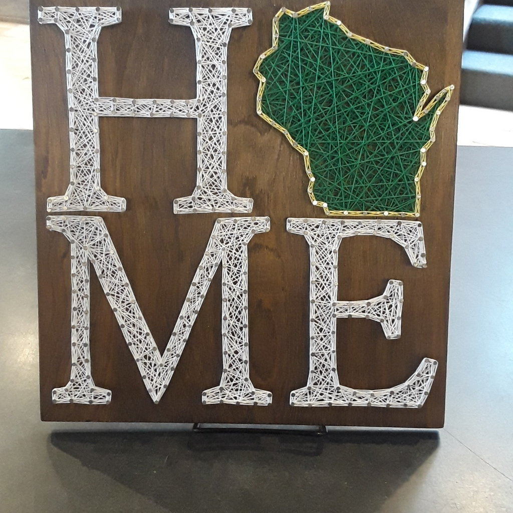 Strung on Nails String Art - WI Home w/out Heart