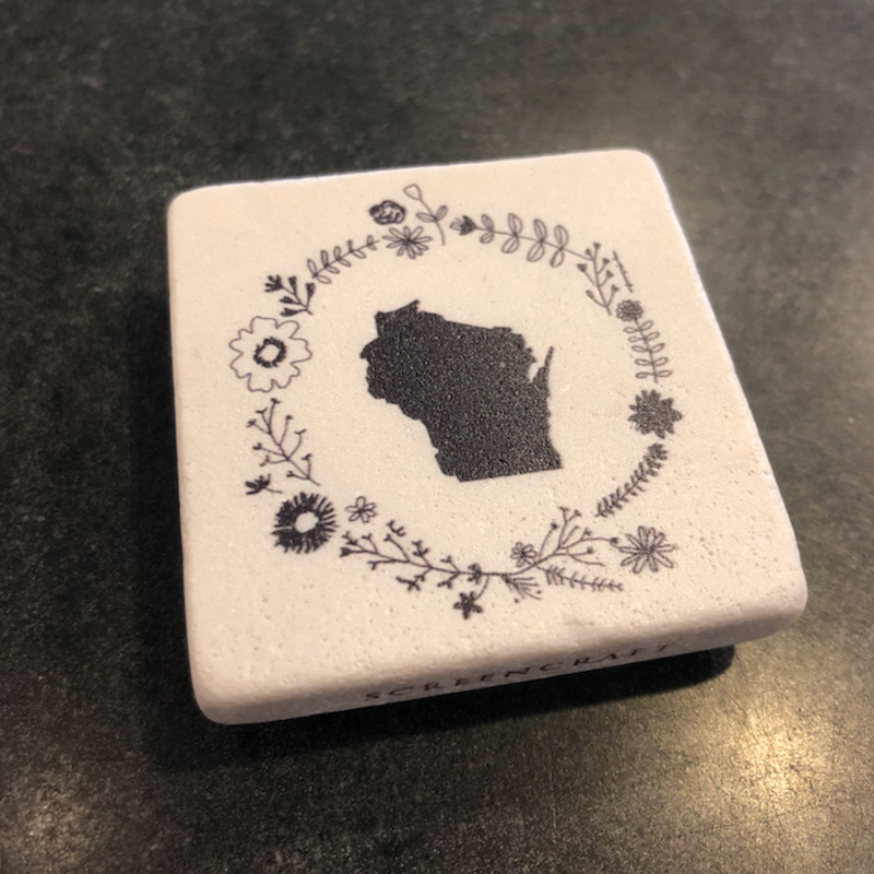 Volume One Marble Magnet - Wisconsin Flower
