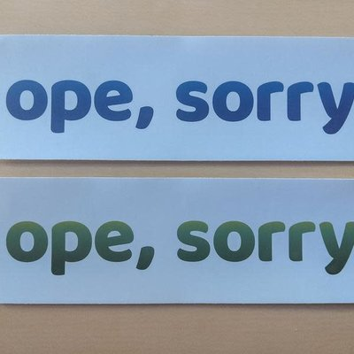 Fox and Felicity Sticker - Ope, Sorry (Blue)
