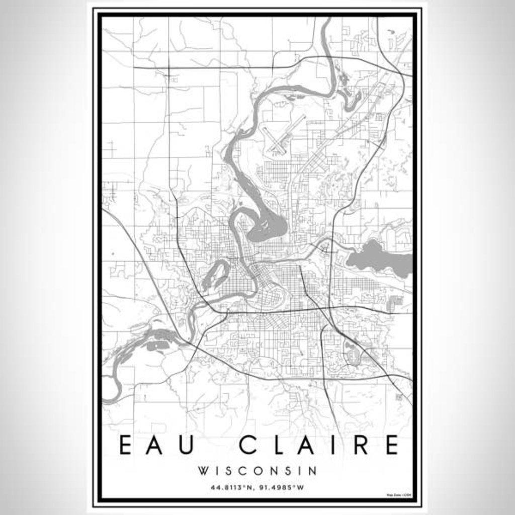 Volume One Eau Claire B&W Map Print (Portrait)
