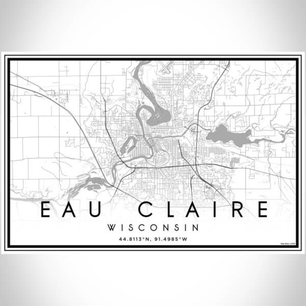 Volume One Eau Claire B&W Map Print (Landscape)