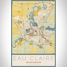 Volume One Eau Claire Woodblock Map Print