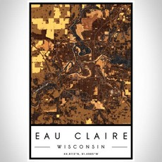 Volume One Eau Claire Map Print (Ember)
