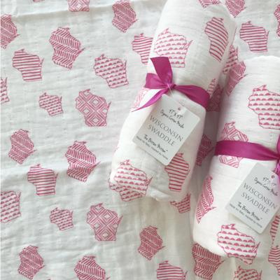 The Bitten Mitten Wisconsin Swaddle Blanket - Pink