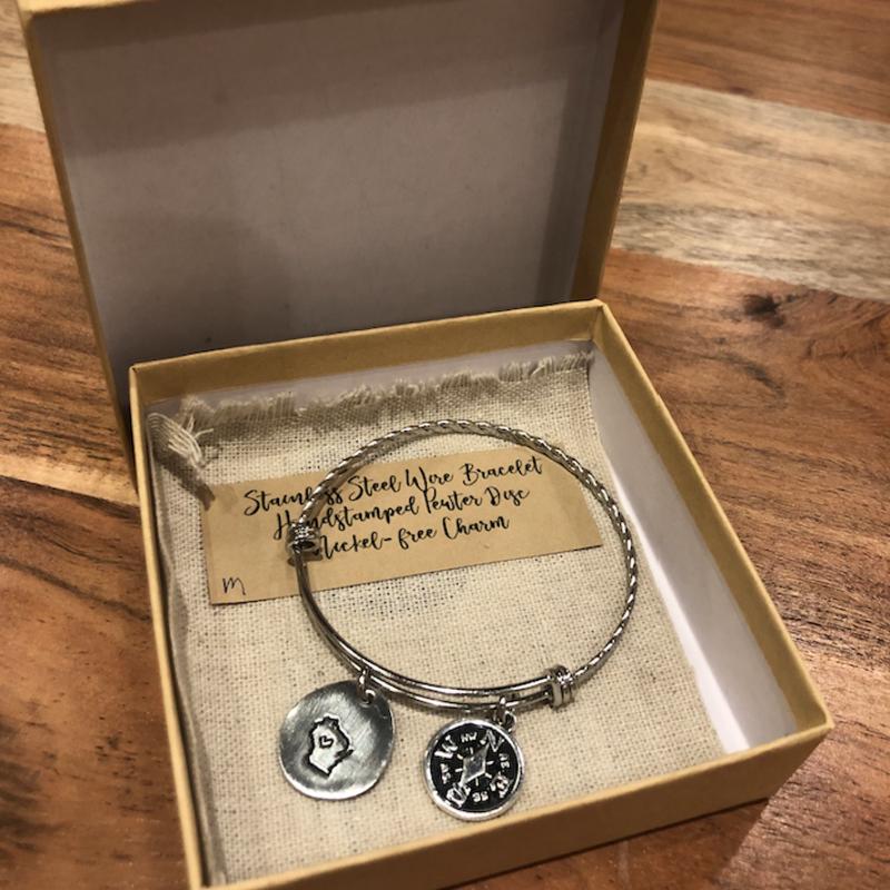 Blue Moon Studios Wisconsin Compass Bracelet - Regular