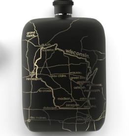 Volume One Flask - Wisconsin Map (Black)