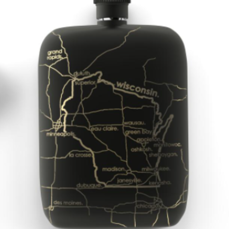 Volume One Flask - Wisconsin Map (Black)