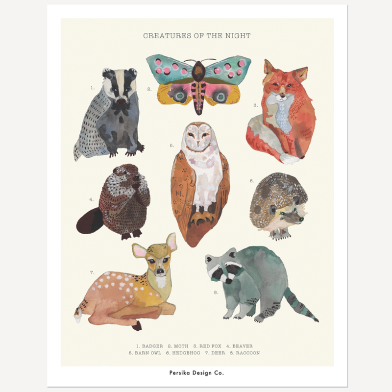 Persika Design Creatures of the Night Print (11x17)