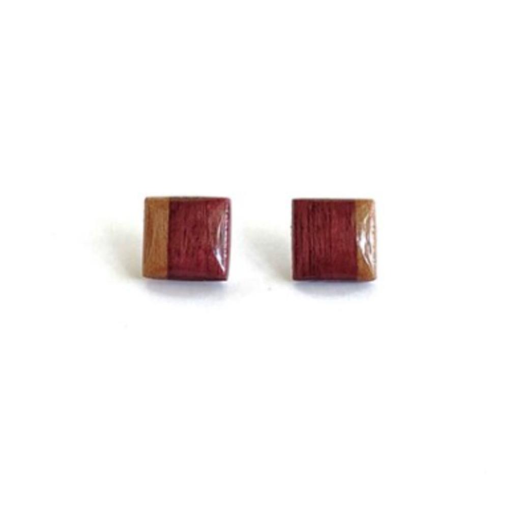Square Post Studs Wood Earrings