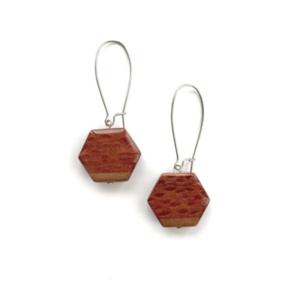 Small Hexagon + Long Loop Wood Earrings