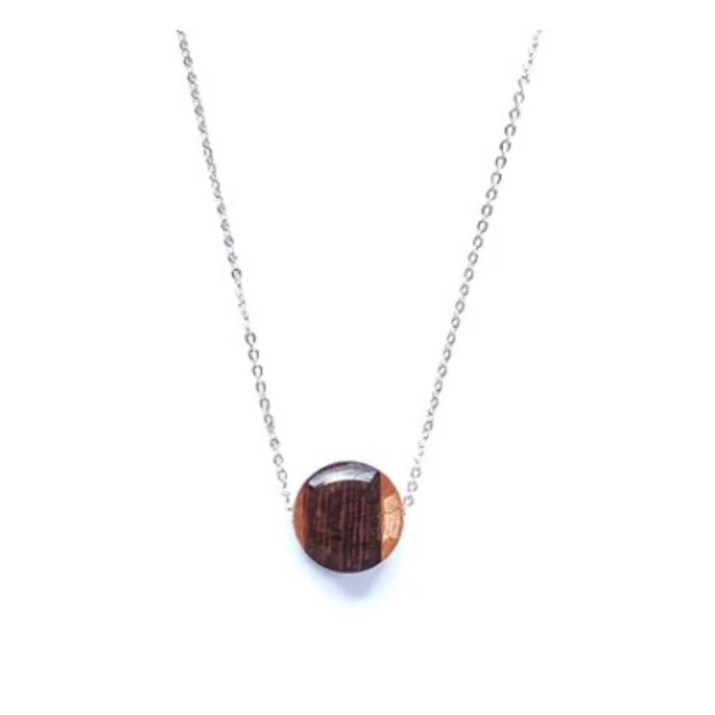 Small Circle Reclaimed Wood Necklace