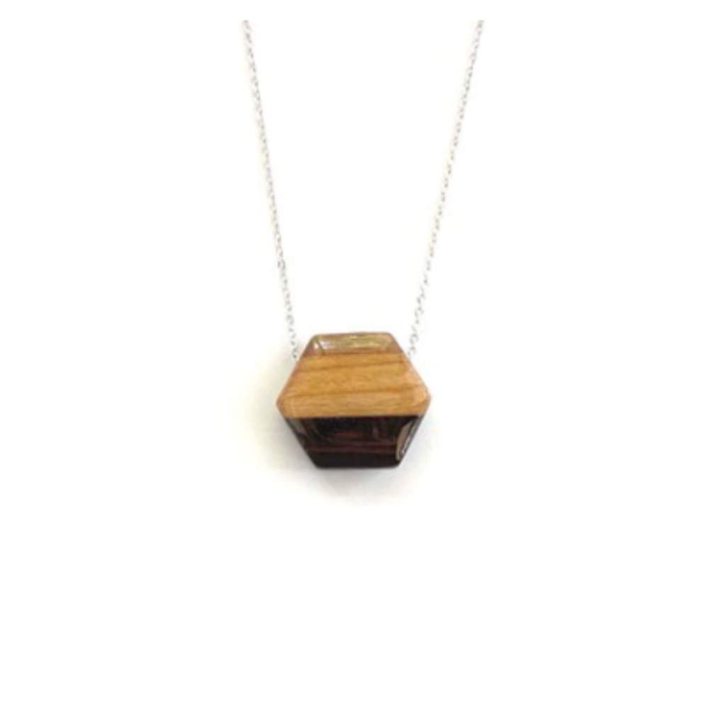 Small Hexagon Reclaimed Wood Necklace