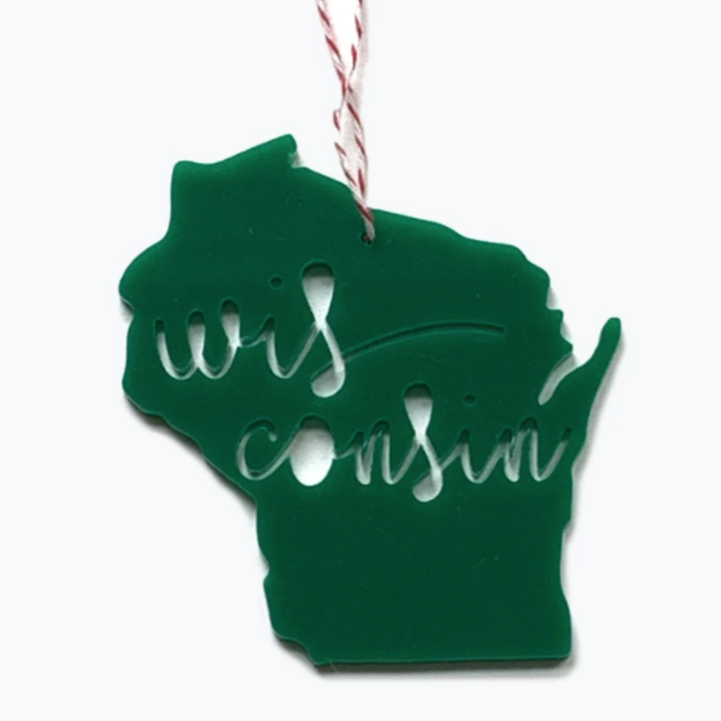 "Tandem for Two State Acrylic 4"" Ornament - Wisconsin (assorted colors)"