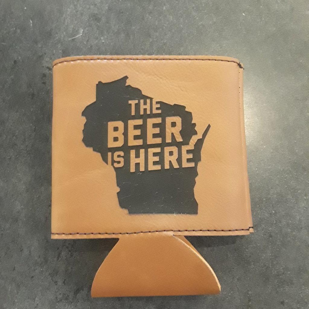 Volume One Leather Koozie - The Beer is Here
