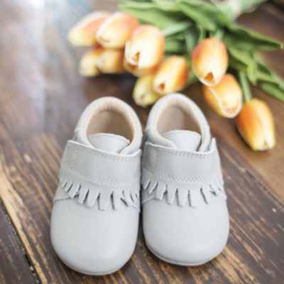 SoJo Moccs Baby Moccasins - Gray Pebbled Leather 0 to 6 months