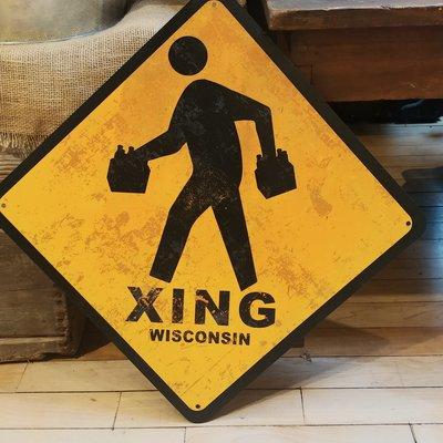 Volume One Wisconsin Beer Crossing Road Sign (19x19)