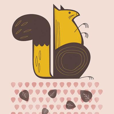 Geo Squirrel Print (8x10)