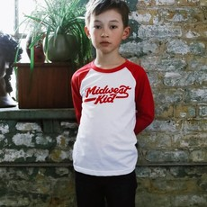 Orchard Street Apparel Youth Baseball Tee - Midwest Kid (Red/White)