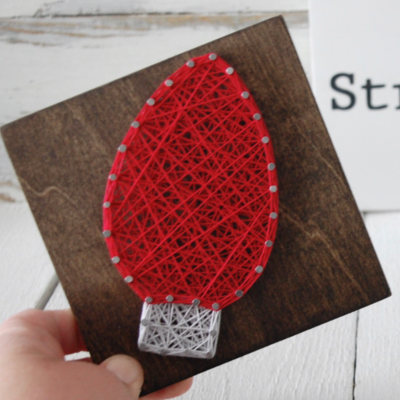 Strung on Nails DIY String Art Kit - Holiday Lightbulb