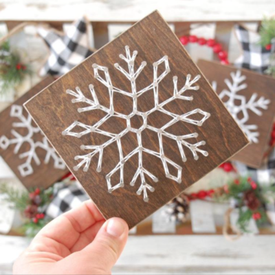 Strung on Nails String Art Square - Snowflake