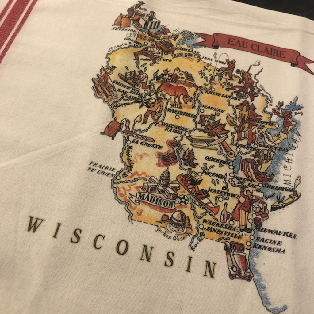 Volume One Vintage Wisconsin Kitchen Towel - Eau Claire