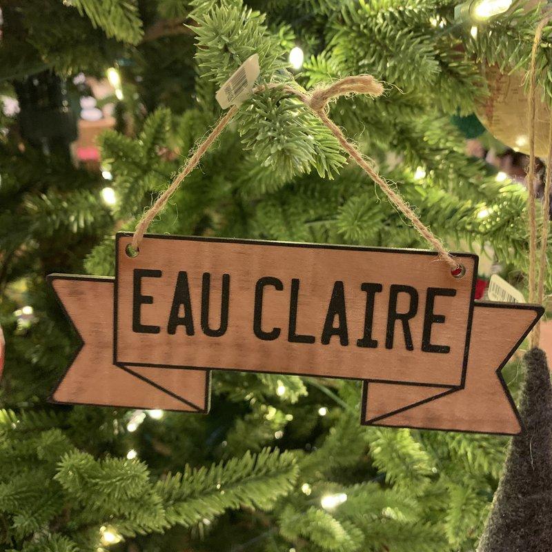Tree Hopper Toys Ornament - Wood Eau Claire Banner