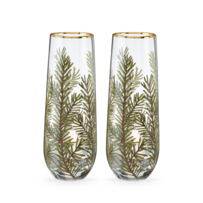 Volume One Stemless Champagne Flute Glass Set - Woodland Evergreen