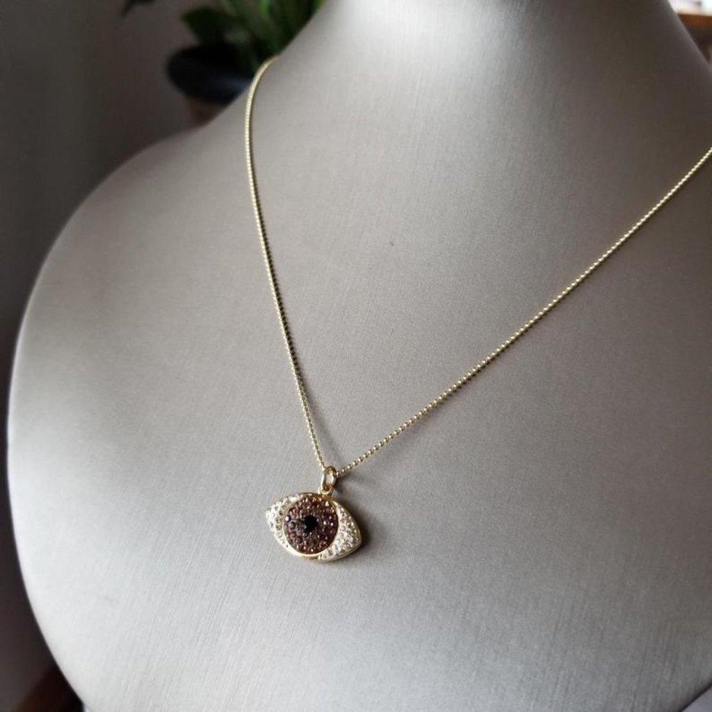 Helen Wang Jewelry Necklace - 14K Ball Chain + Swarovski Eye (Dark Topaz)