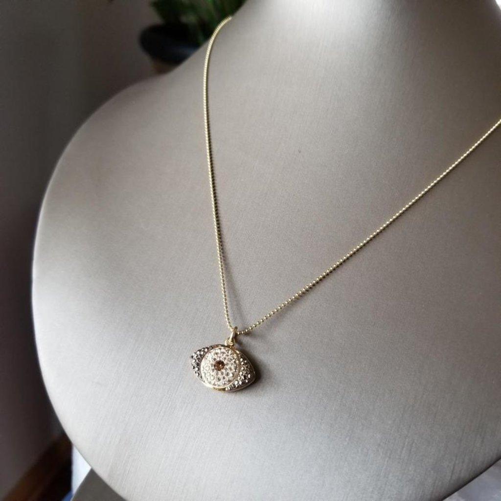 Helen Wang Jewelry Necklace - 14K Ball Chain + Swarovski Eye (Champagne Topaz)