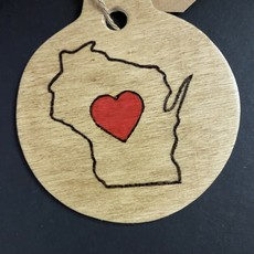 Wisco Cheer Wisco Cheer Ornament - Round Large Heart