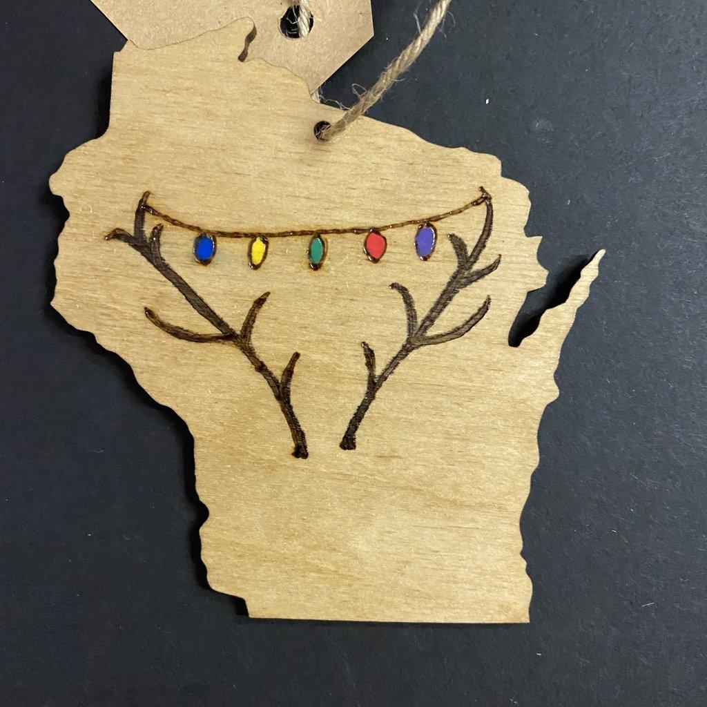 Wisco Cheer Wisco Cheer Ornament - WI Antler