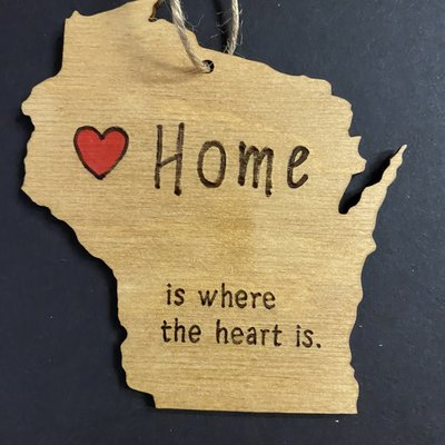 Wisco Cheer Wisco Cheer Ornament - WI Home is Heart