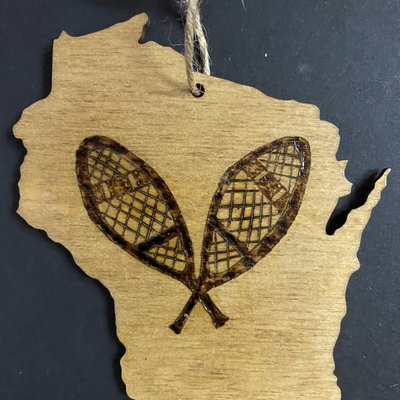 Wisco Cheer Wisco Cheer Ornament - WI Snowshoes