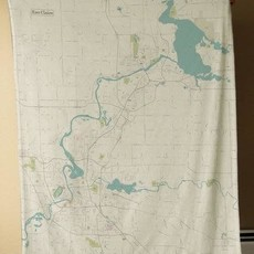 Volume One Eau Claire Map Blanket - Vintage