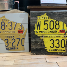 Chris Staack Wisconsin License Plate Sign - on wood assorted