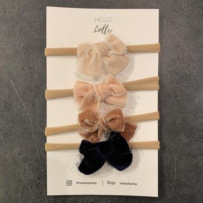 Nylon Headband Bows (set of 4) Holiday