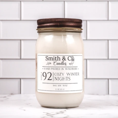 Cozy Winter Nights Large Mason Jar Candle 16oz