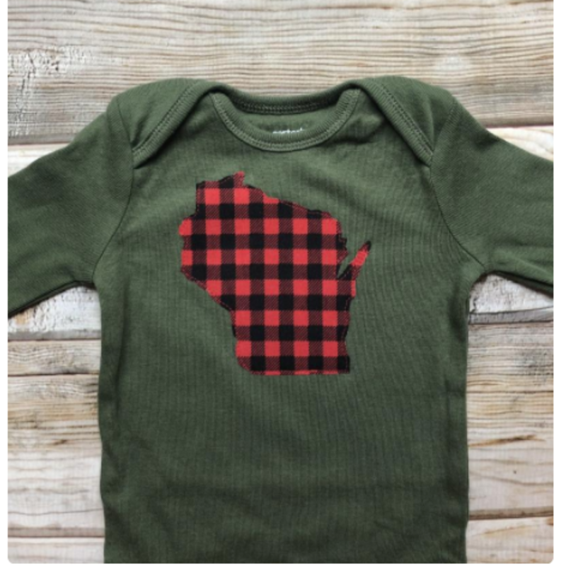 Lincs & Fins Onesie - WI Red Plaid on Green - Long Sleeve