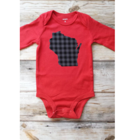 Lincs & Fins Onesie - WI Grey plaid on Red Short sleeve