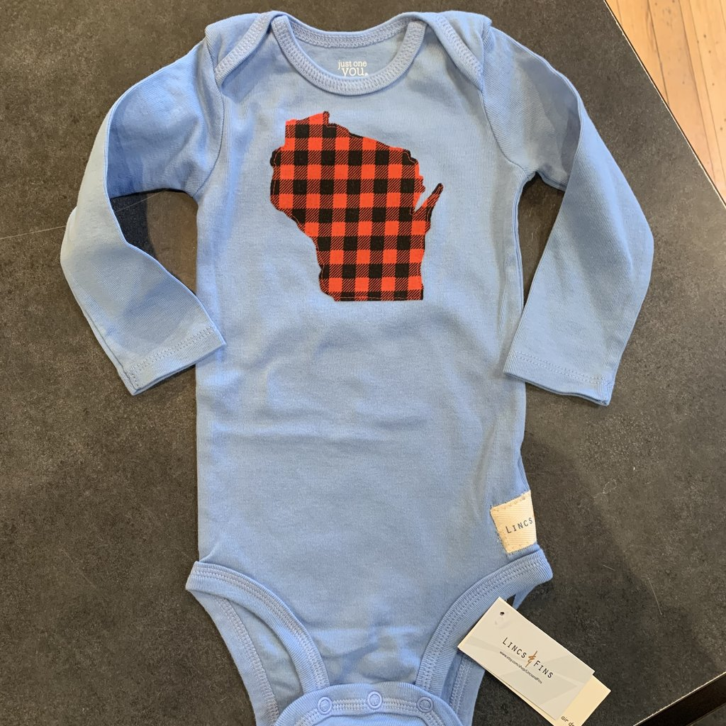 Lincs & Fins Onesie - WI Red Plaid Long-sleeve