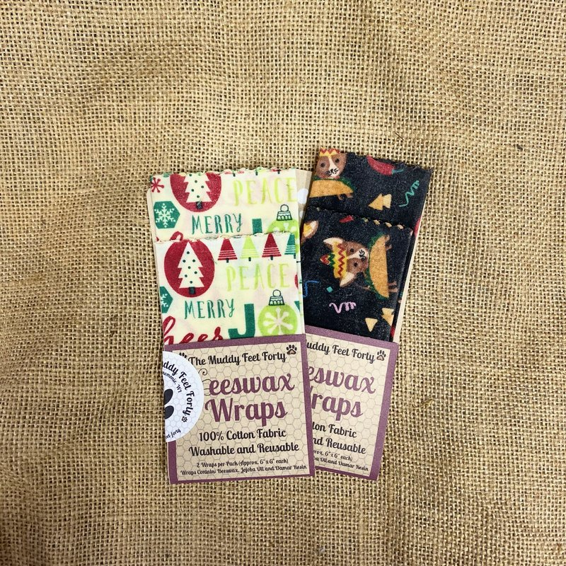 The Muddy Feet Forty Beeswax Wrap - 6x6 (Assorted 2-Pack)