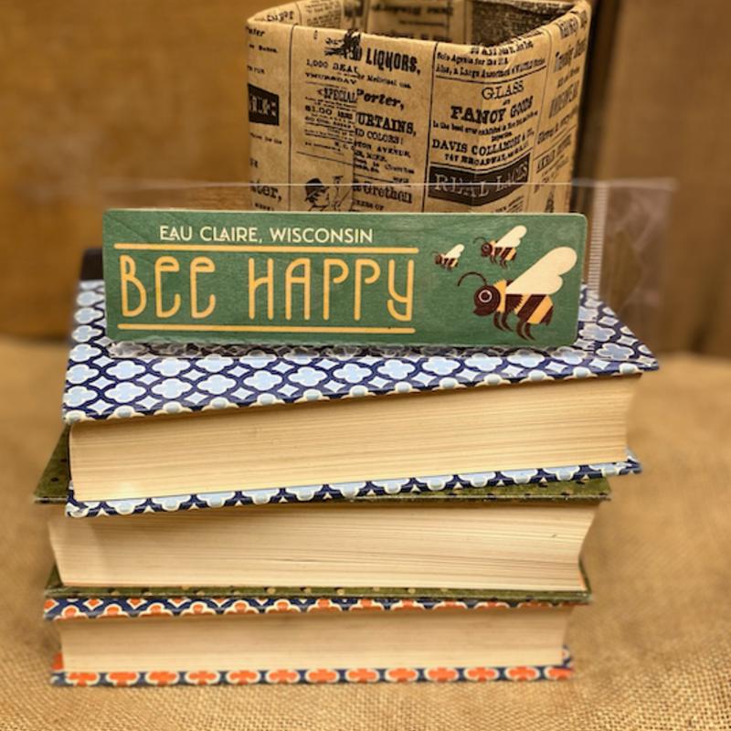 Volume One Wood Bookmark - Bee Happy