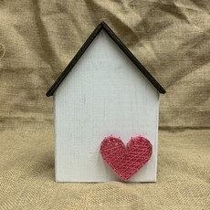Strung on Nails String Art House With Heart
