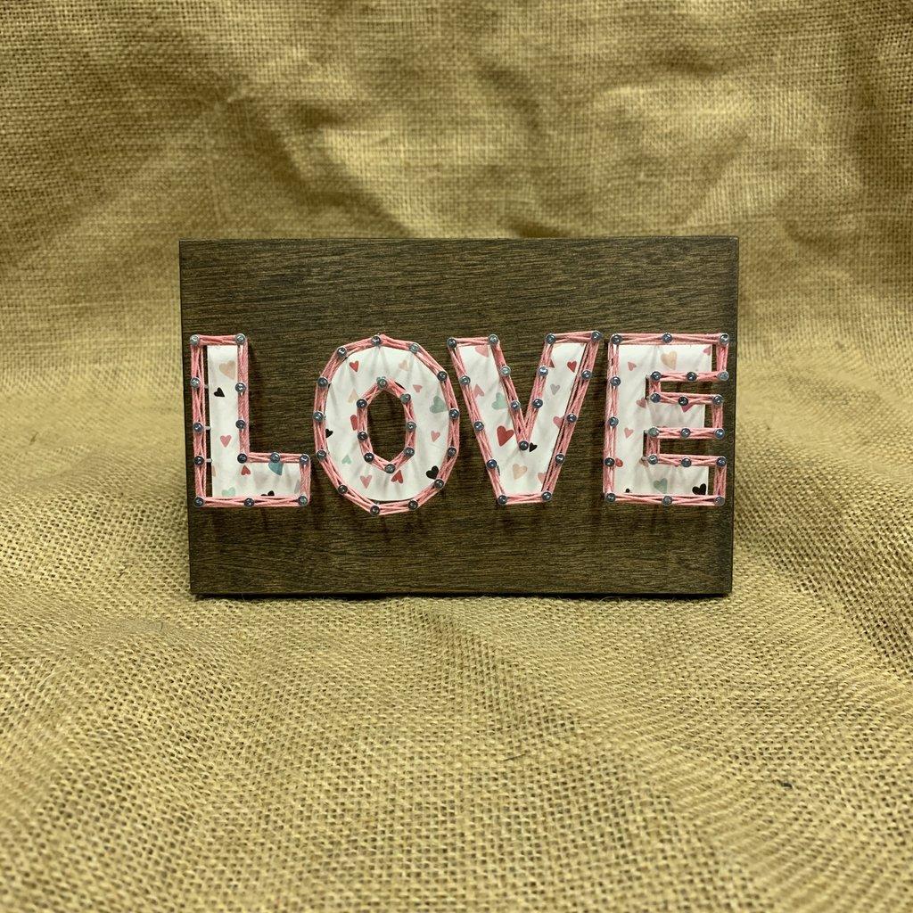 Strung on Nails String Art - Valentine's Love
